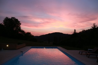 Pool just after sunset