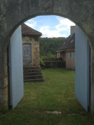 View through big gates to interior garden